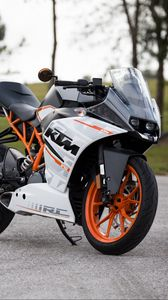 Превью обои ktm, мотоцикл, вид сбоку