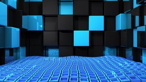 Превью обои куб, квадраты, пространство, синий, черный