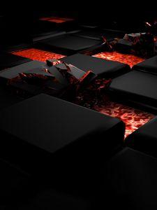 Превью обои куб, огонь, темный, свет, сплав
