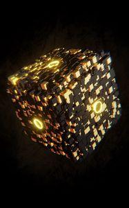 Превью обои куб, свечение, фигура, 3d, объем