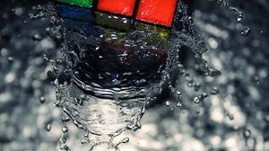 Превью обои кубик, капли, вода