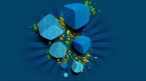 Превью обои кубик, листья, синий, зеленый, вектор