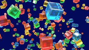 Превью обои кубы, фигуры, прозрачный, разноцветный, 3d