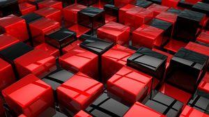 Превью обои кубы, красный, черный, пространство
