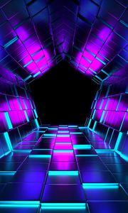 Превью обои кубы, рендеринг, туннель, пурпурный