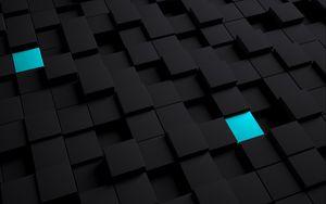 Превью обои кубы, структура, черный, голубой
