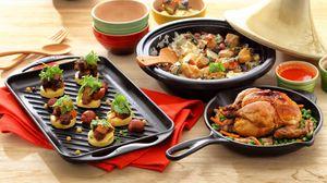Превью обои курица, мясо, жареное, посуда