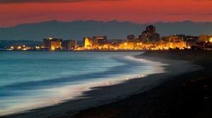 Превью обои кушадасы, турция, берег, ночь, здания, свет, океан