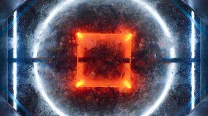 Превью обои квадрат, круг, фигуры, свечение