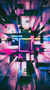 Превью обои квадраты, фигуры, свечение, фиолетовый, 3d