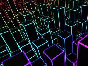 Превью обои квадраты, линии, объем, 3d, разноцветный, черный