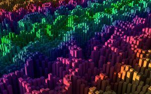 Превью обои квадраты, столбы, градиент, разноцветный, 3d