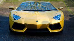 Превью обои lamborghini, aventador, lp700-4, желтая, авто, вид спереди