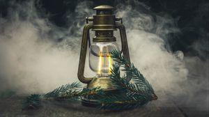 Превью обои лампа, ветка, ель, дым