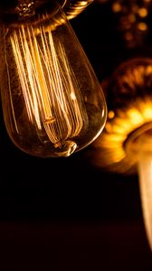 Превью обои лампочка, лампа накаливания, электричество, свет, темный