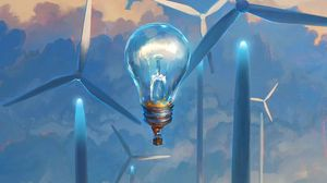 Превью обои лампочка, сюрреализм, ветряные мельницы, воздушный шар, аэростат