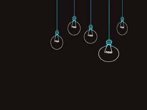 Превью обои лампочки, рисунок, вектор, минимализм, черный фон