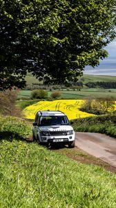 Превью обои land rover, автомобиль, внедорожник, белый, дорога, природа