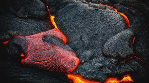 Превью обои лава, огненный, поверхность, вулкан