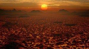 Превью обои лава, пейзаж, закат, вулканический