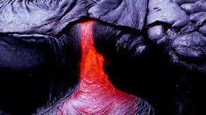 Превью обои лава, поверхность, огненный, вулкан