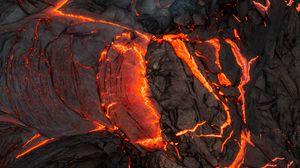 Превью обои лава, вулкан, извержение, горячий