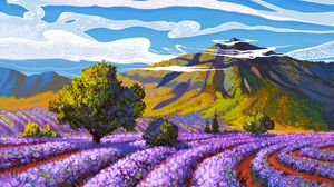 Превью обои лаванда, поле, гора, пейзаж, арт