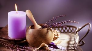 Превью обои лаванда, свеча, ступка, чашка, ароматерапия
