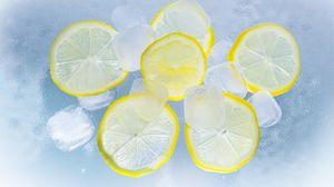 Превью обои лед, лимоны, цитрус