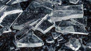 Превью обои лед, осколки, макро, прозрачный