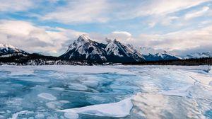 Превью обои лед, озеро, горы, зима, пейзаж