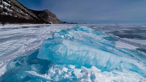 Превью обои лед, озеро, камни, снег