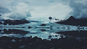 Превью обои лед, снег, камни