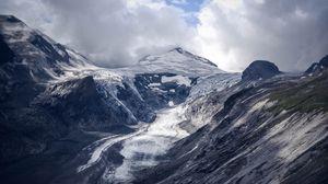 Превью обои ледник, гора, туман, облака