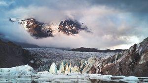 Превью обои ледник, горы, облака, лед, пейзаж, исландия