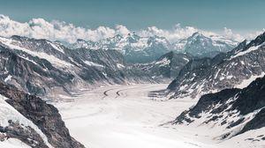Превью обои ледник, горы, снег, вершины, алечский ледник, швейцария