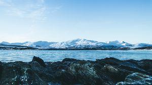 Превью обои ледник, камни, озеро, лед, вода