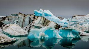 Превью обои ледник, лед, океан, отражение, природа