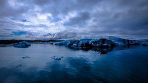 Превью обои ледник, море, снег, лед, вечер