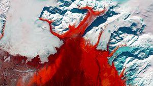 Превью обои ледник, вид сверху, рельеф, лед, красный