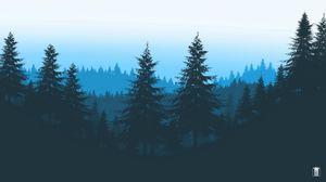 Превью обои лес, деревья, горы, арт, вектор