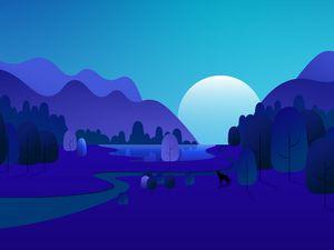 Превью обои лес, деревья, горы, вектор, арт, синий