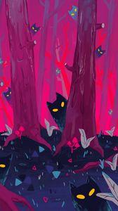Превью обои лес, деревья, коты, силуэты, арт