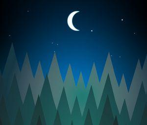 Превью обои лес, деревья, луна, ночь, вектор, арт