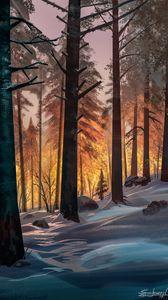 Превью обои лес, деревья, снег, пейзаж, арт