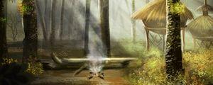 Превью обои лес, озеро, костер, природа, арт