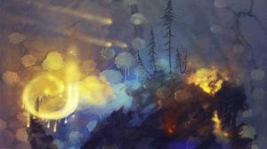 Превью обои лес, колдун, маг, волшебство, свечение, арт