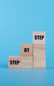 Превью обои лестница, мотивация, слова, кубики, синий