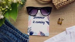 Превью обои лето, надпись, очки, сумка, одежда, цветы