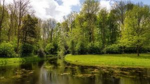 Превью обои лето, река, природа, трава